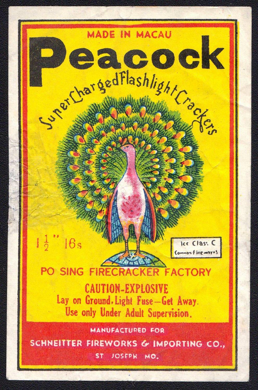 PEACOCK BRAND SINGLE FIRECRACKER LABEL ICC CLASS C 16'S MACAU 1960'S RARE