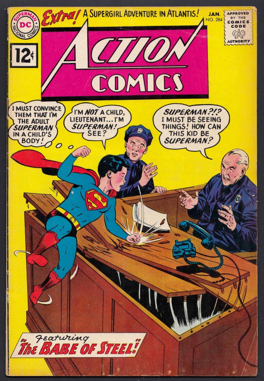 ACTION COMICS SUPERMAN (BABE OF STEEL) MON-EL SUPERGIRL VG/F NO.284 JAN 1962