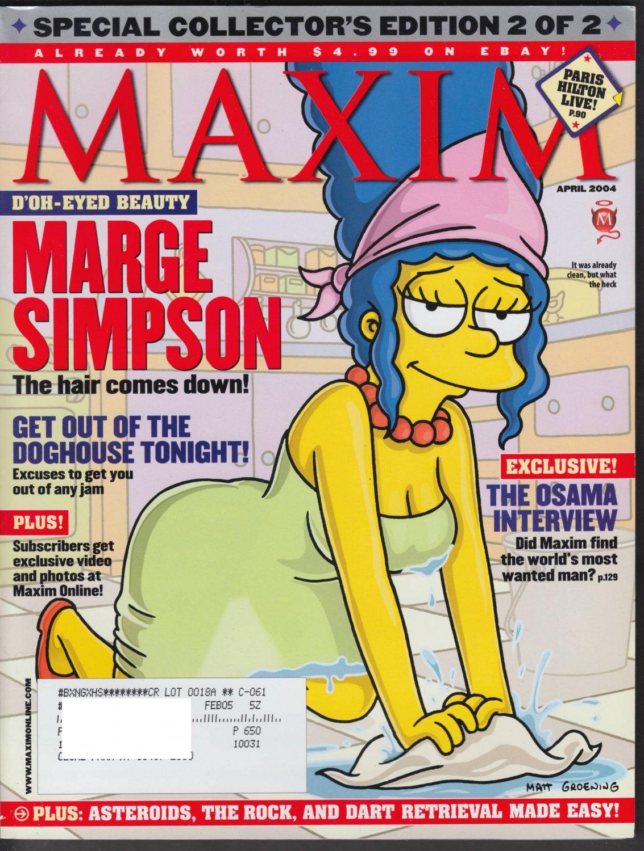 MARGE SIMPSON PARIS HILTON MAXIM MAGAZINE APRIL 2004 NEAR MINT CONDITION.