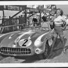 MARILYN MONROE POSING BY A CORVETTE RACE CAR NEW REPRINT  5X7 #99