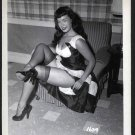 BETTY PAGE COOL LEGGY POSE IRVING KLAW VINTAGE PHOTO 4X5  #1639