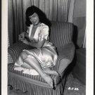 BETTY PAGE BOSOMY IN WHITE SATIN IRVING KLAW VINTAGE PHOTO 4X5 #32