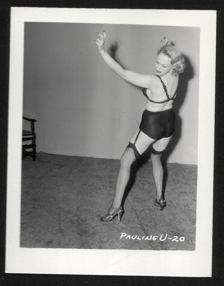 STRIPPER PAULA URSHAN BLACK SATIN PANTIES BOOTY POSE IRVING KLAW VINTAGE PHOTO 4X5 #20