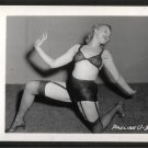 STRIPPER PAULA URSHAN BLACK LACE BRA PANTIES POSE IRVING KLAW VINTAGE PHOTO 4X5 #33