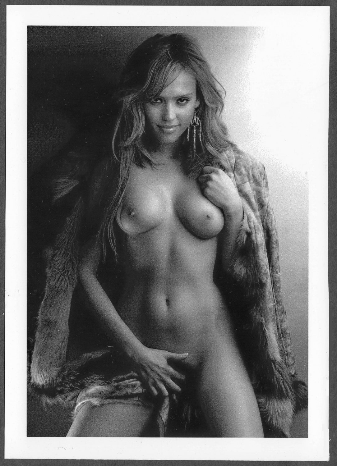 JESSICA ALBA TOTALLY NUDE HUGE HEAVY BOOBS HAIRY PUSSY POSE 5X7 #004