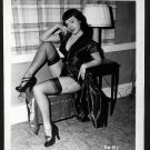 BETTY PAGE BLACK LEATHER DRESS POSE IRVING KLAW VINTAGE PHOTO 4X5 #2091