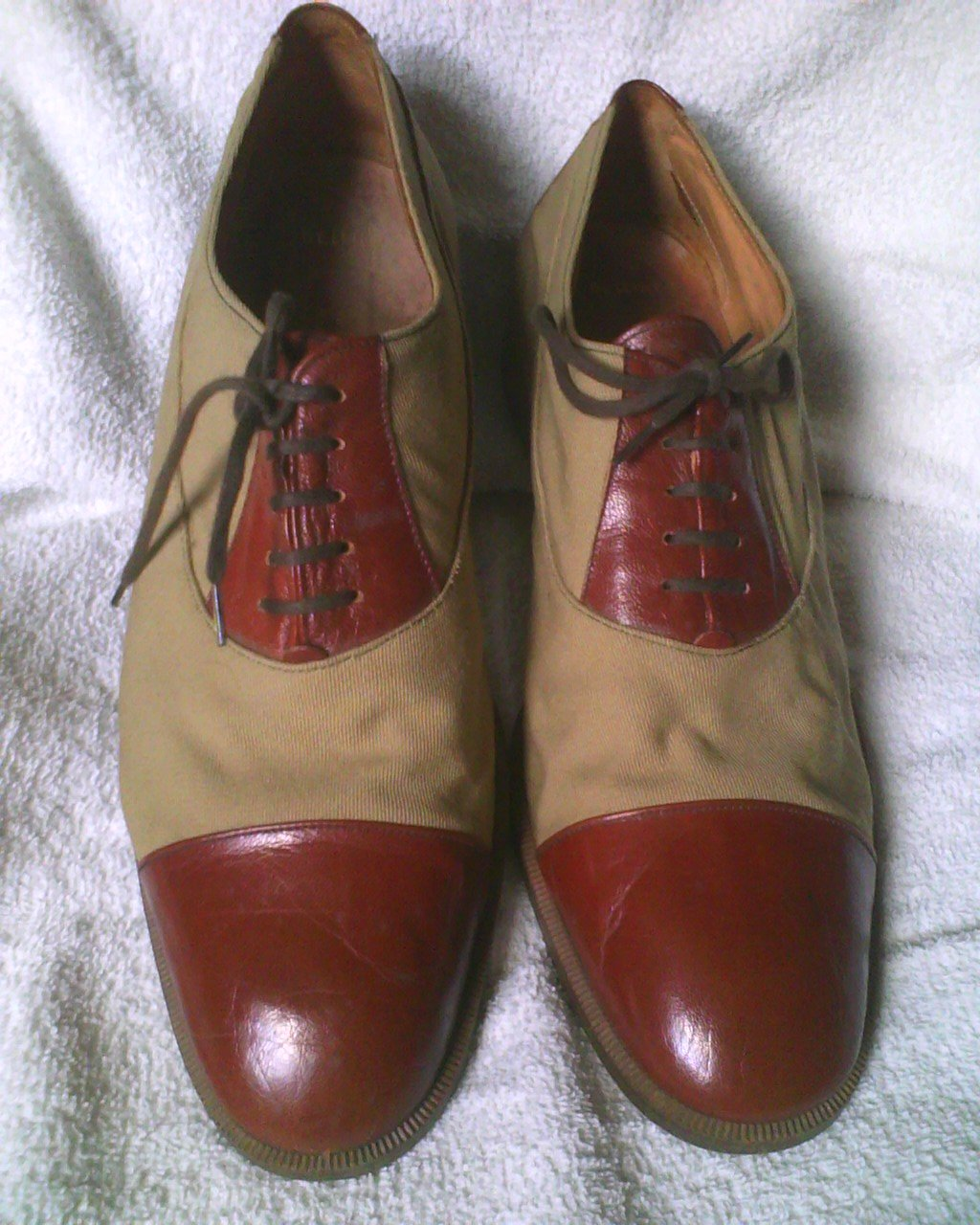 BALLY OF SWITZERLAND CANVAS/LEATHER DRESS SHOES 9 1/2M ITALY LATE 1970'S USED