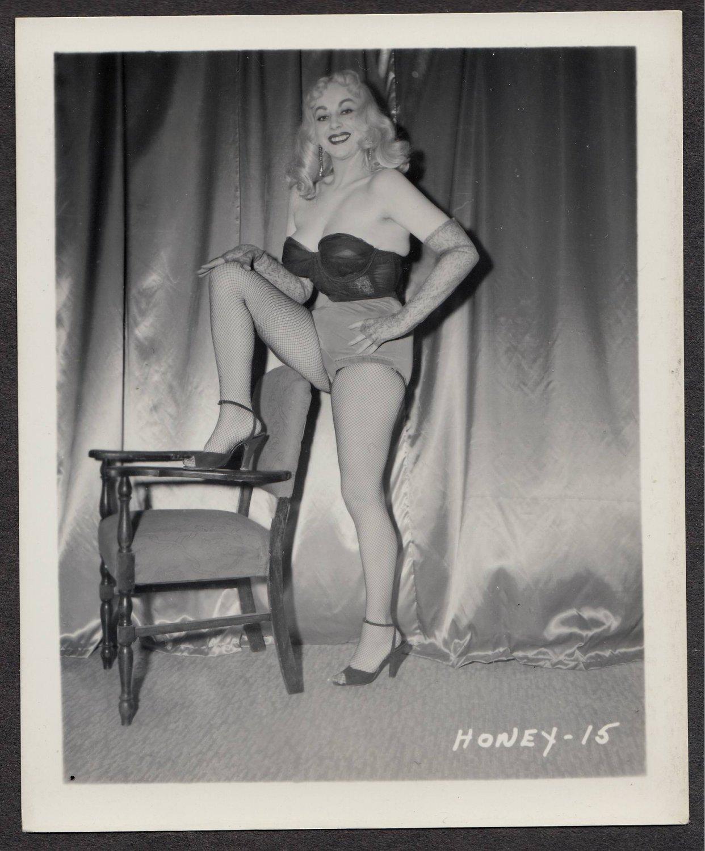 STRIPPER HONEY BAER IRVING KLAW VINTAGE ORIGINAL PHOTO 4X5 1950'S #15