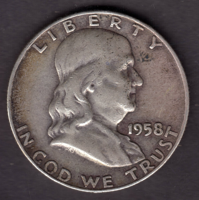 1958-D FRANKLIN SILVER HALF DOLLAR CIRCULATED CONDITION