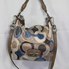 COACH Kristin Outline Graphic Op Art Hobo Blue Multi