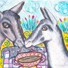 Alpine Drinking Coffee Dairy Goat Art Giclee Print NEW 8.5 x 11