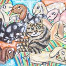 Nubian Au Pair Dairy Goat Art Cat with Kids Giclee Print NEW 8.5 x 11