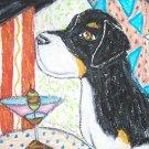 GREATER SWISS MOUNTAIN DOG drinking a Martini Dog Art Print NEW 8.5 x 11