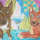American Indian Dog drinking a Martini dog art giclee print