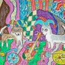Alaksan Klee Kai Jesters with Guitar Dog Art giclee print