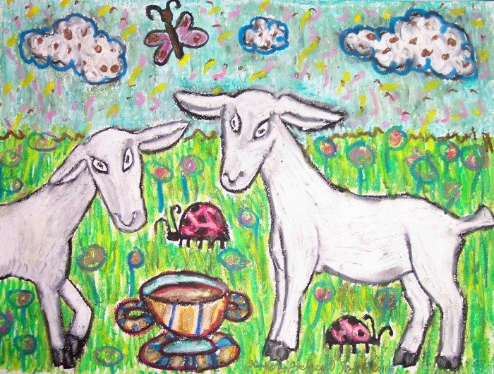 Saanen Drinking Coffee Dairy Goat Art Giclee Print