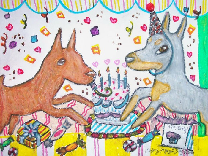German Pinscher having a Birthday Party Dog Art Print