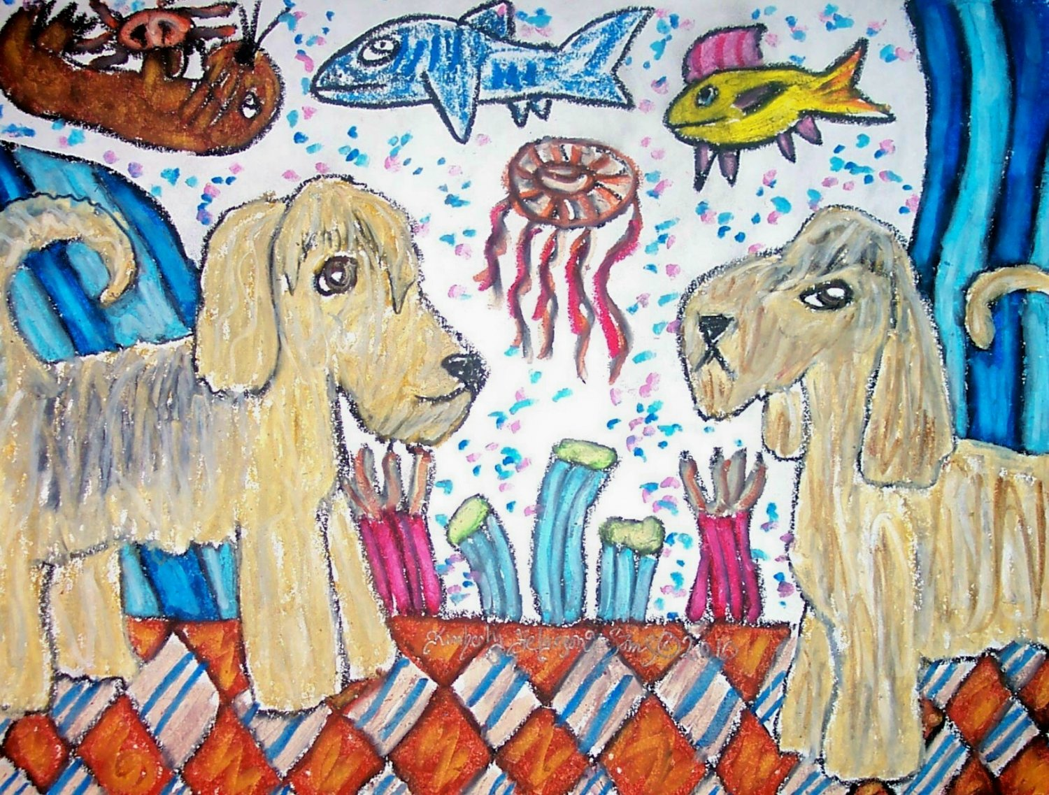 Do Otterhounds Visit the Aquarium Otterhound Dog Art Giclee Print