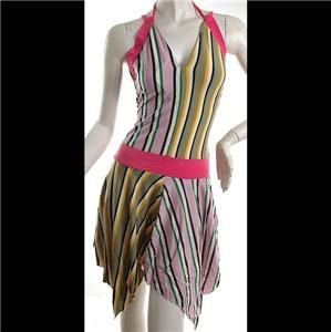 NEW COLORFUL FUNKY STRIPES BEACH PARTY MINI DRESS FREE SHIP WORLDWIDE