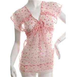 NEW SHEER BABYDOLL  DITSY FLORAL HIPPIE TOP XS FREE WORLDWIDE SHIPPING