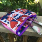 Handmade summer, 4th of July Makeup bag, coin purse