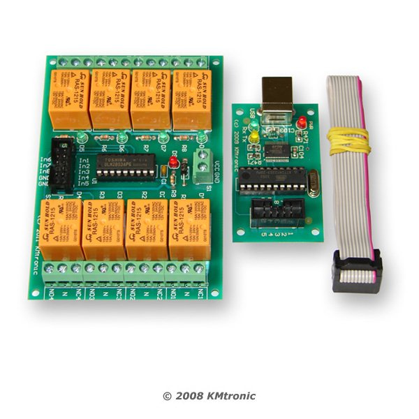 USB Eight Channel Relay Board - RS232 Serial controlled, PCB