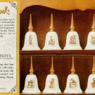 M J Hummel Porcelain Bells w//Wood Handles-Set of 12 NEW
