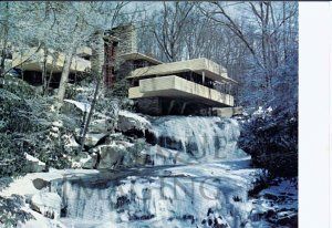 1975 Frank Lloyd Wright's Fallingwater Northwest Elevation Extra Large Postcard FREE SHIPPING