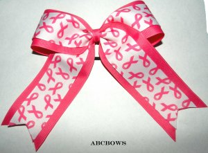 Cheer Bow - breast cancer awarness - double layer
