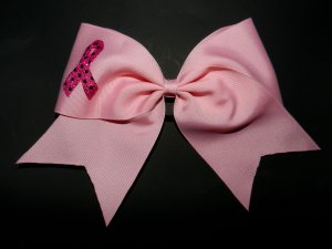 Texas Size Cheer Bow - Brest Cancer