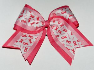 """Breast Cancer Awareness Bow - Triple Layer 3"""" base"""
