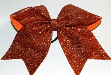 Texas Size  Cheer bow - Orange Glitter
