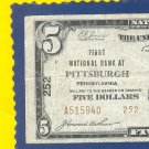 "1929 $5.00 Type 2  National "" Pittsburgh, PA """