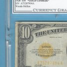 ~ 1928 ~ $10 GOLD certificate == CGC graded F15