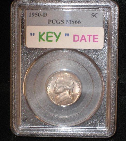 """PCGS  MS 66  1950-D  Jefferson 5 cent   """" KEY DATE """""""