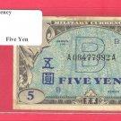 JAPAN WWII  AMC  5 YEN