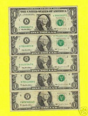 Series 1995 SET ~~ WEB press ~~ $1.00 Experimental notes