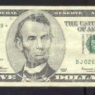 """1999 """" J """" STAR $5.00 FRN"""
