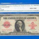 1923 ~~ RED ~~~ $1.00 =  graded  VF35