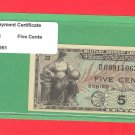 Series 481 ~~ .05 Cents ~~ MPC