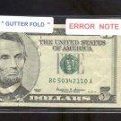 $5.00 Gutter Fold  = ERROR = very nice