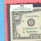 """== Series Key == 1993 """" D """" star note $50.00 = D00262374*"""