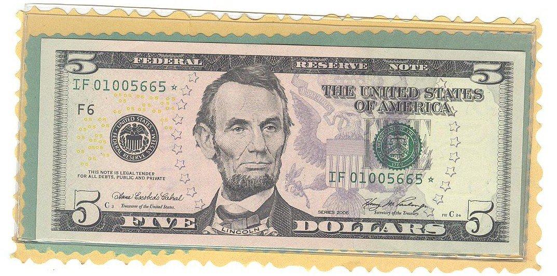 """2006 """" F """" STAR $5.00 FRN =="""