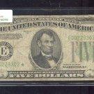 "1934   "" E ""  STAR $5.00 FRN  E00229302*  MULE BP#1422"
