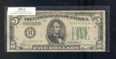 """1934A  """" B """"  STAR $5.00 FRN  B02230869*"""