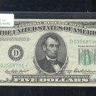 """1950B  """" D """"  STAR $5.00 FRN  D03568796*"""
