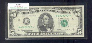 """1963A  """" H """"  STAR $5.00 FRN  H03289027*"""