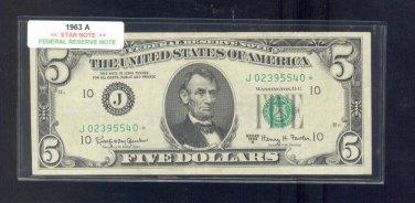 """1963A  """" J """"  STAR $5.00 FRN  J02395540*"""