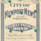 Newport News, VA ==  $500  BOND certificate