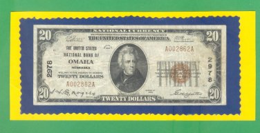 """Omaha, NB - $20 1929 """" FORBIDDEN TITLE """" The United States NB Ch. # 2978"""